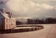 Ulva House with the rounded hedge
